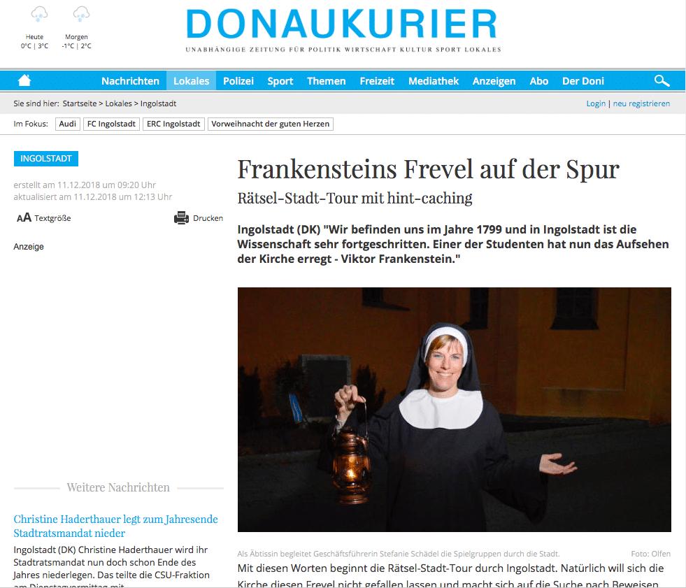 Donaukurier Frankenstein Stadtrallye Hint-Caching
